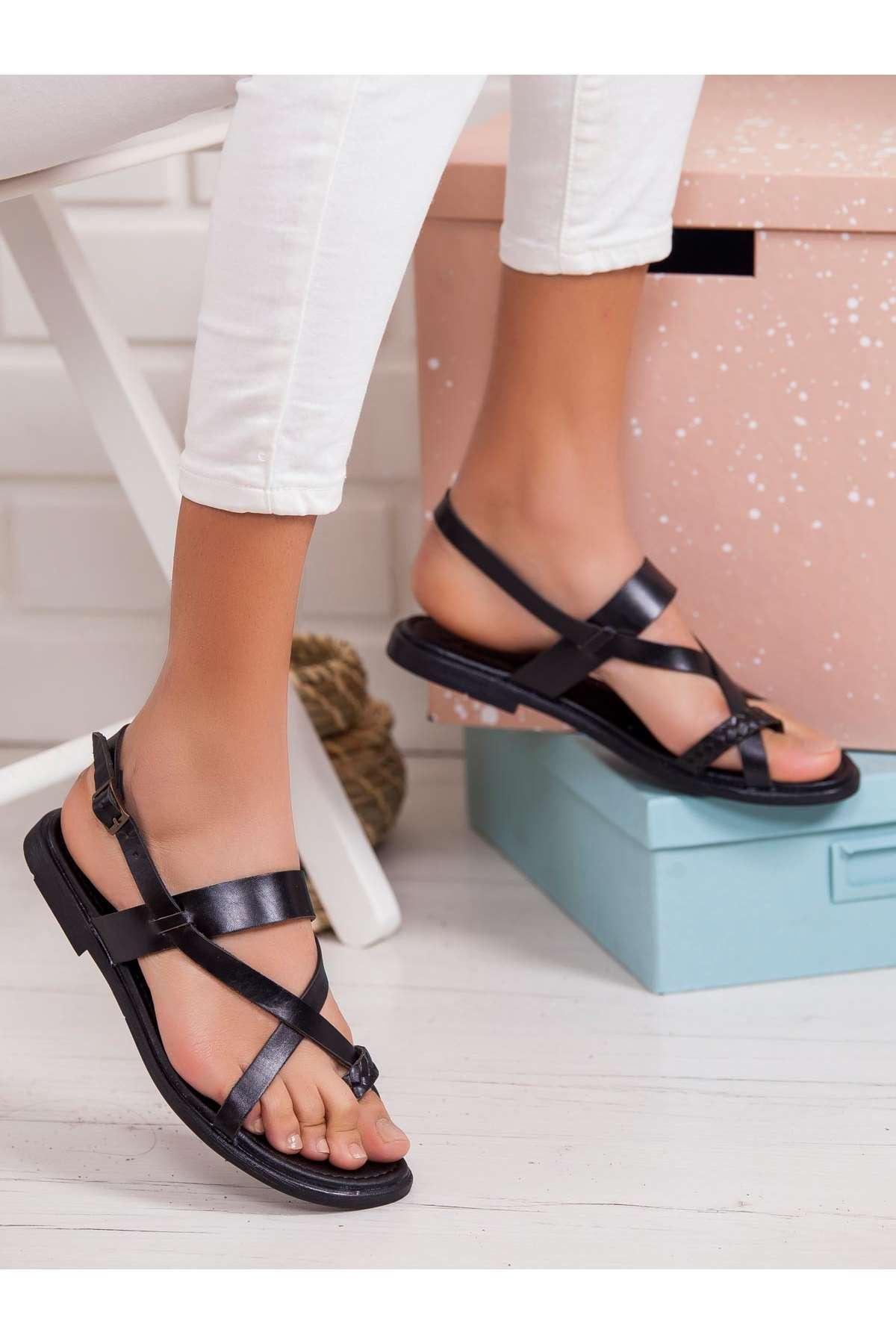Ageof Hakiki Deri Sandalet SIYAH