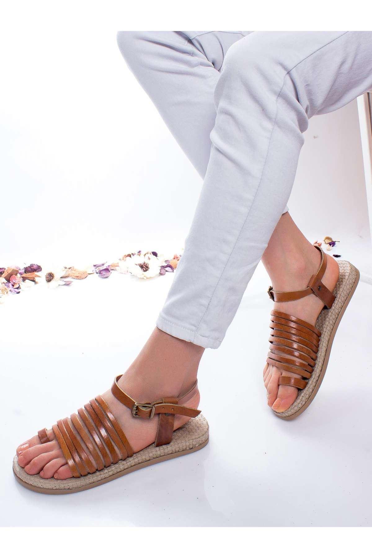 Clair Hakiki Deri Sandalet TABA