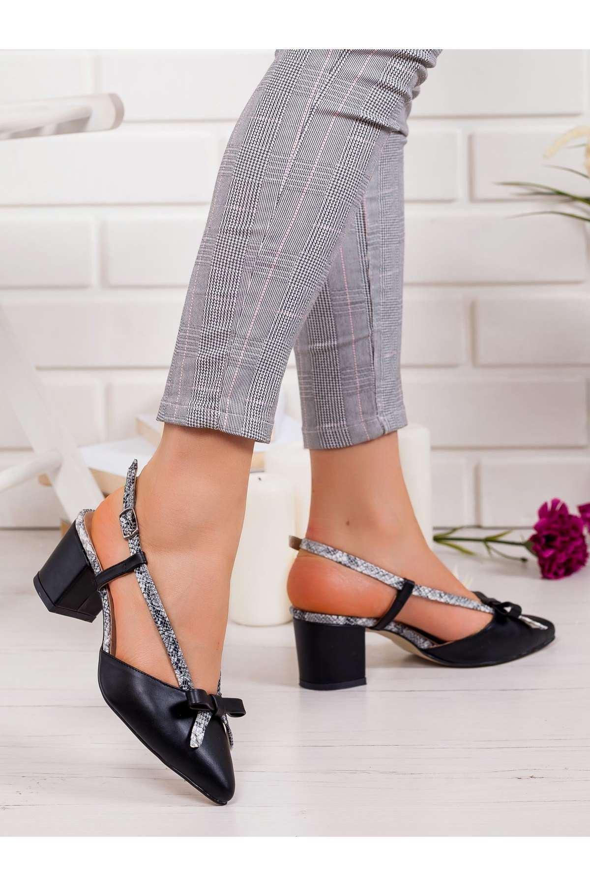 Felicia Topuklu Ayakkabı SİYAH-YILAN