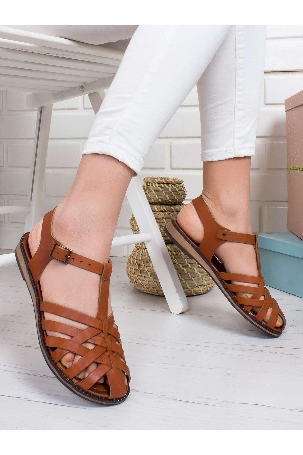 Lizbon Hakiki Deri Sandalet TABA