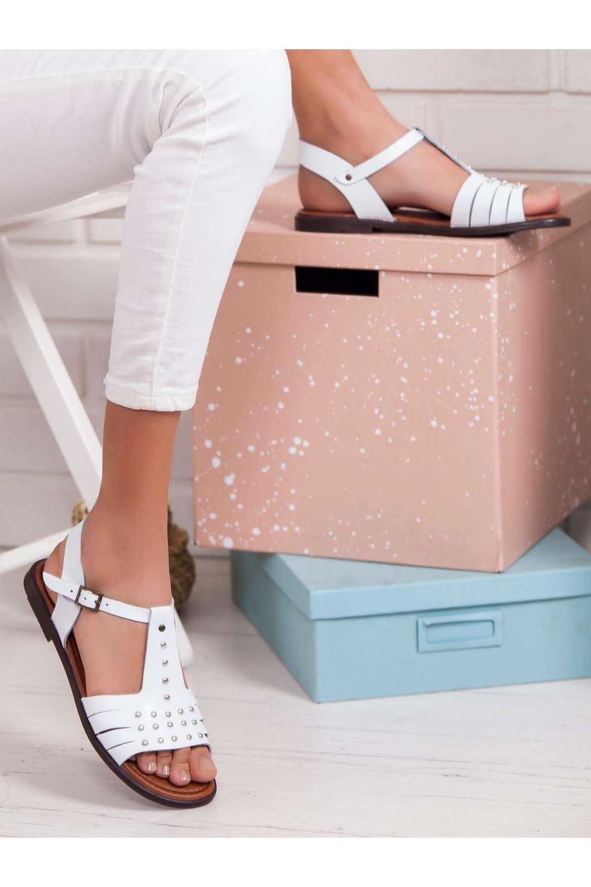 Sofia Hakiki Deri Sandalet BEYAZ