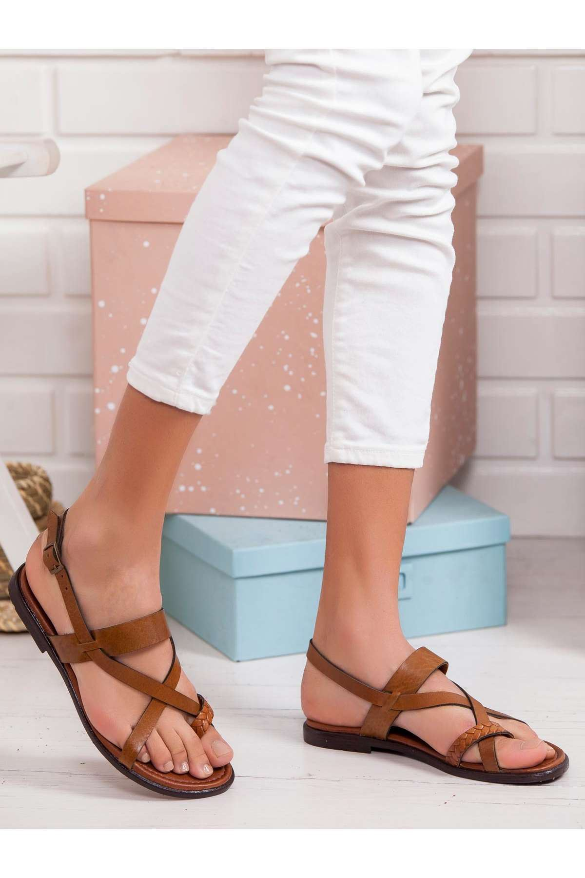 Ageof Hakiki Deri Sandalet TABA