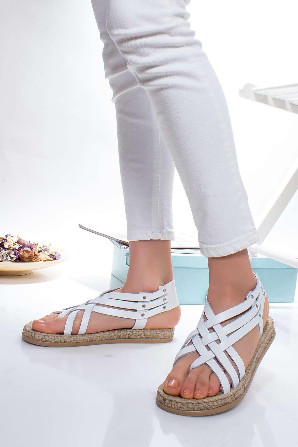 Delit Hakiki Deri Sandalet BEYAZ