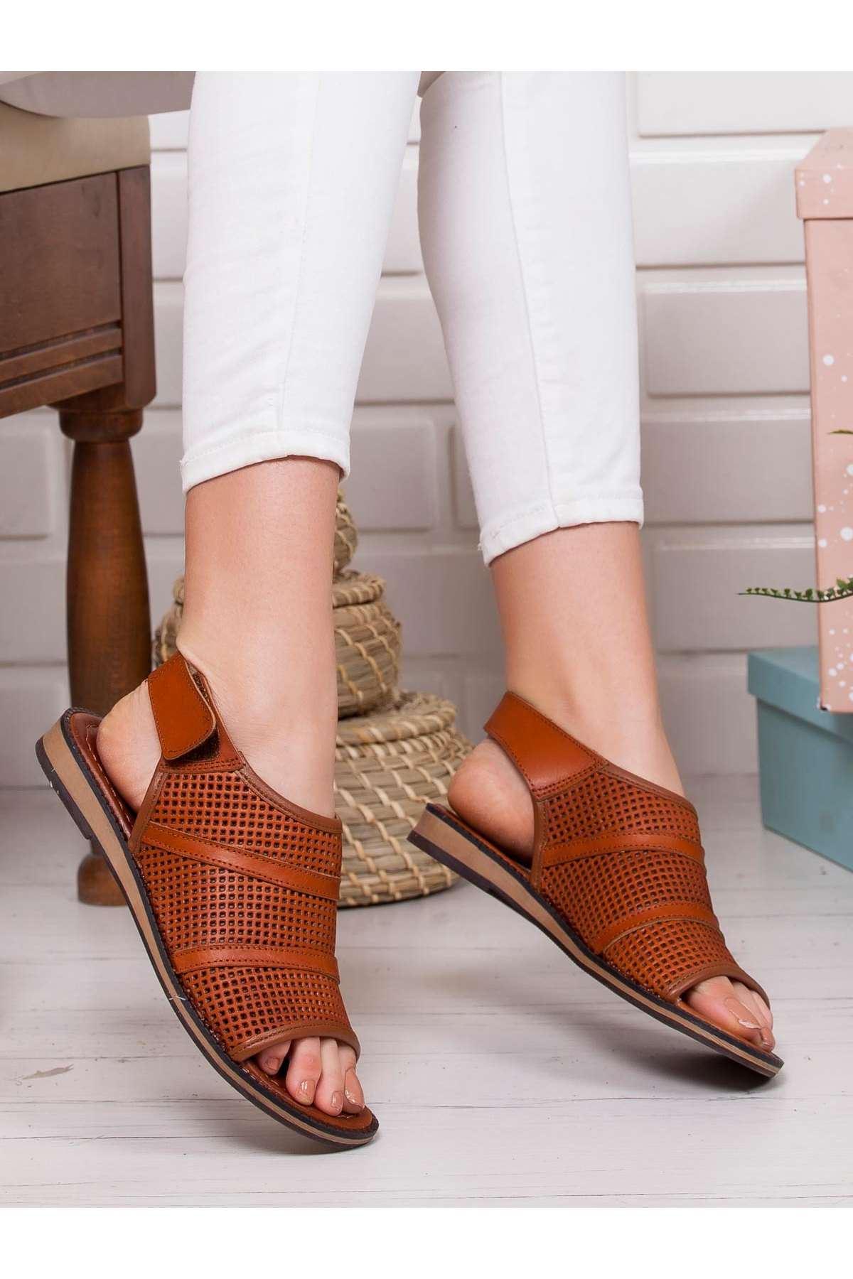 Star Hakiki Deri Sandalet TABA