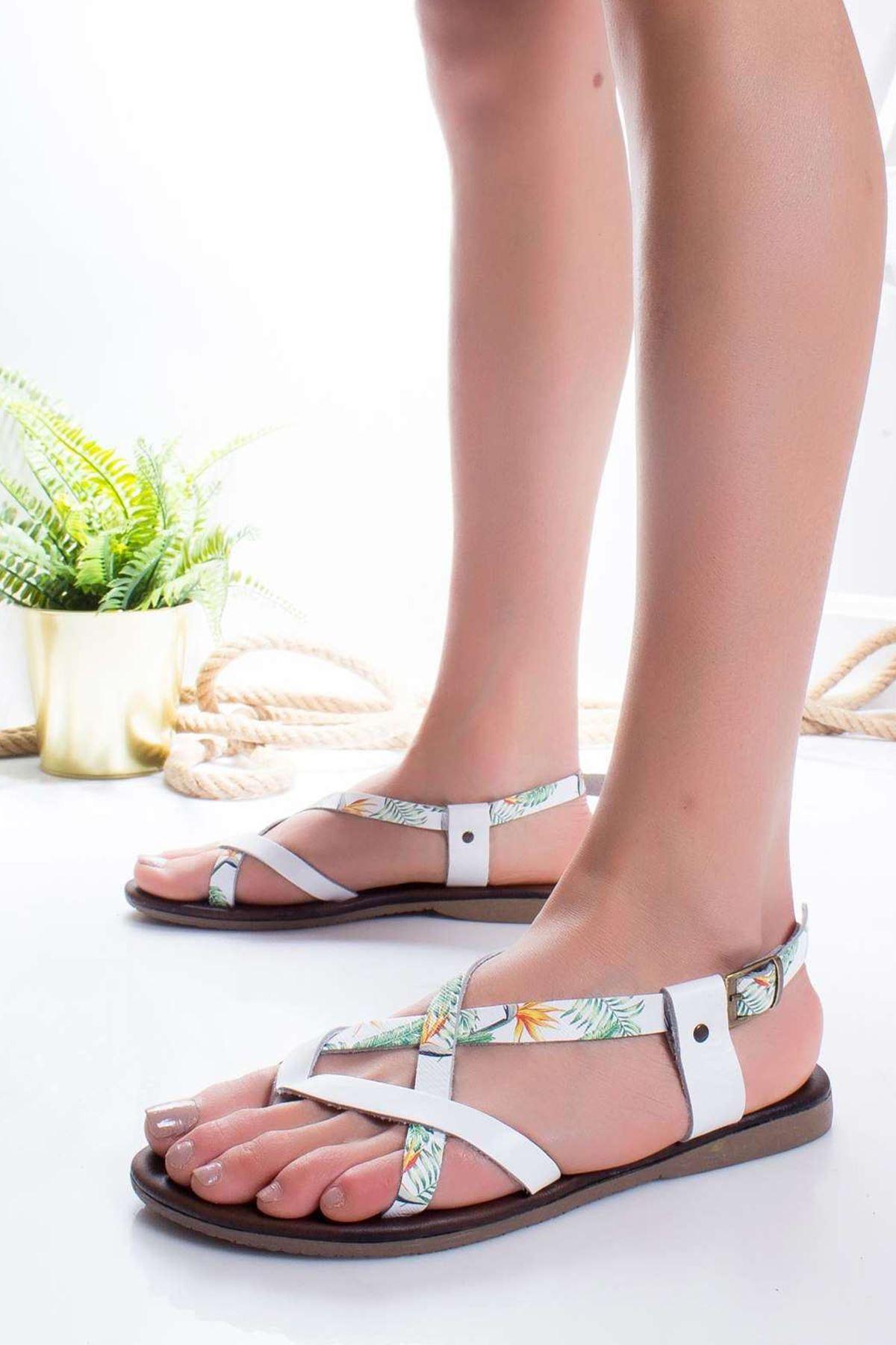 Cary Hakiki Deri Sandalet BEYAZ