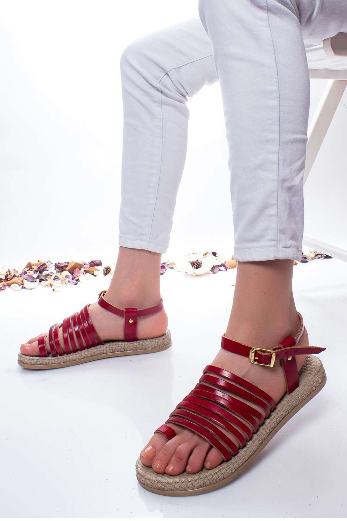 Clair Hakiki Deri Sandalet KIRMIZI