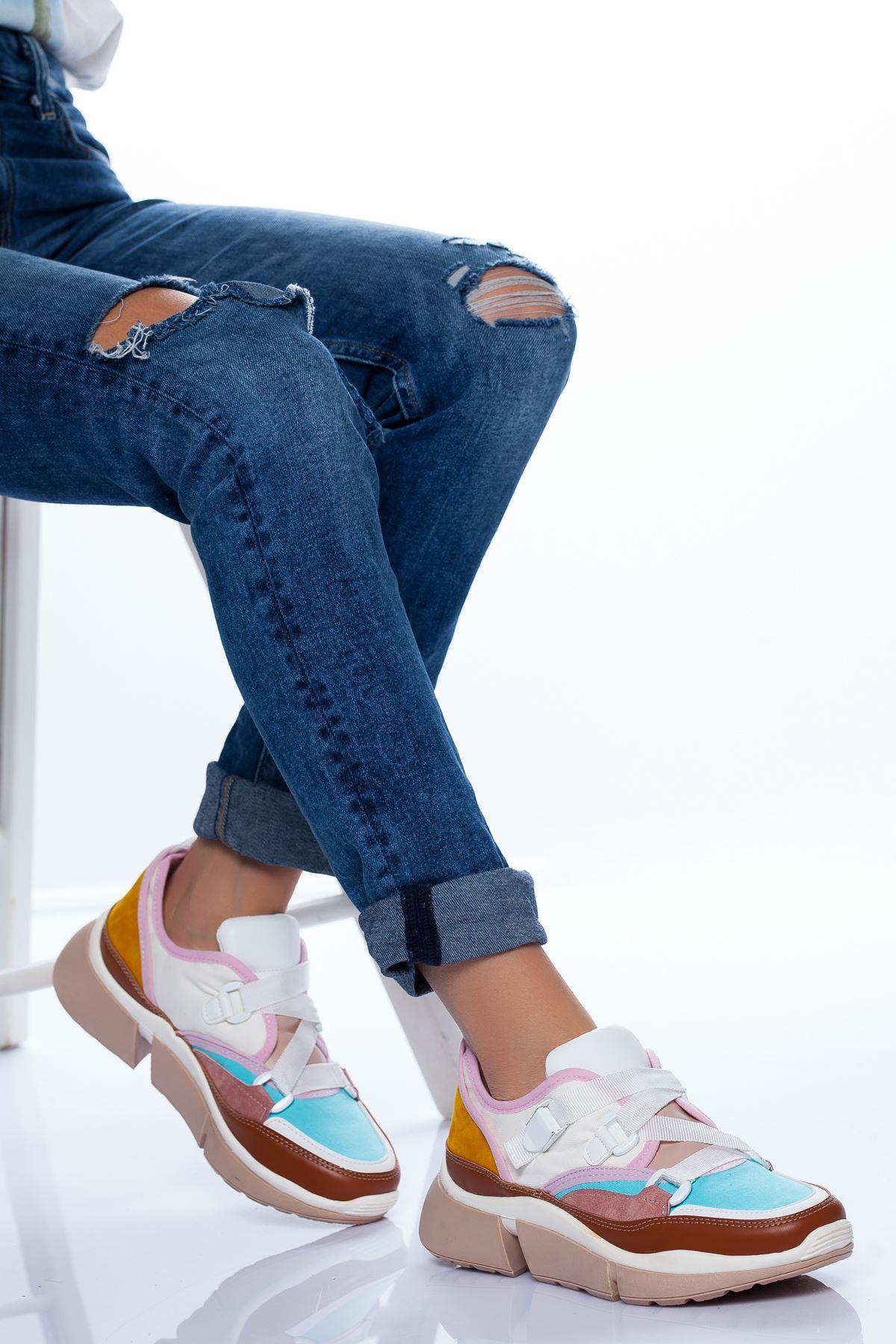 Cindy Spor Ayakkabı BEYAZ-KAHVE
