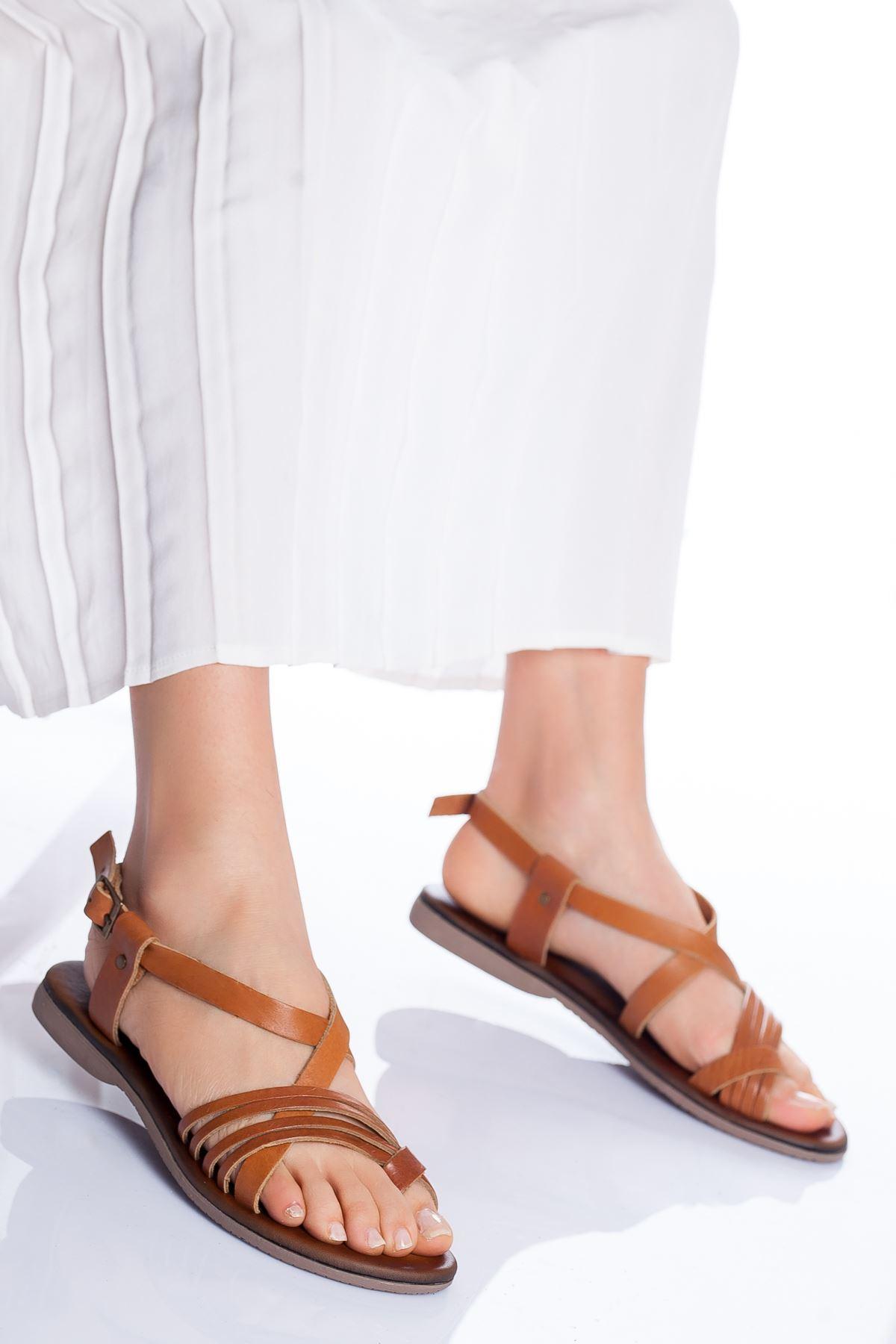 Bluma Hakiki Deri Sandalet TABA