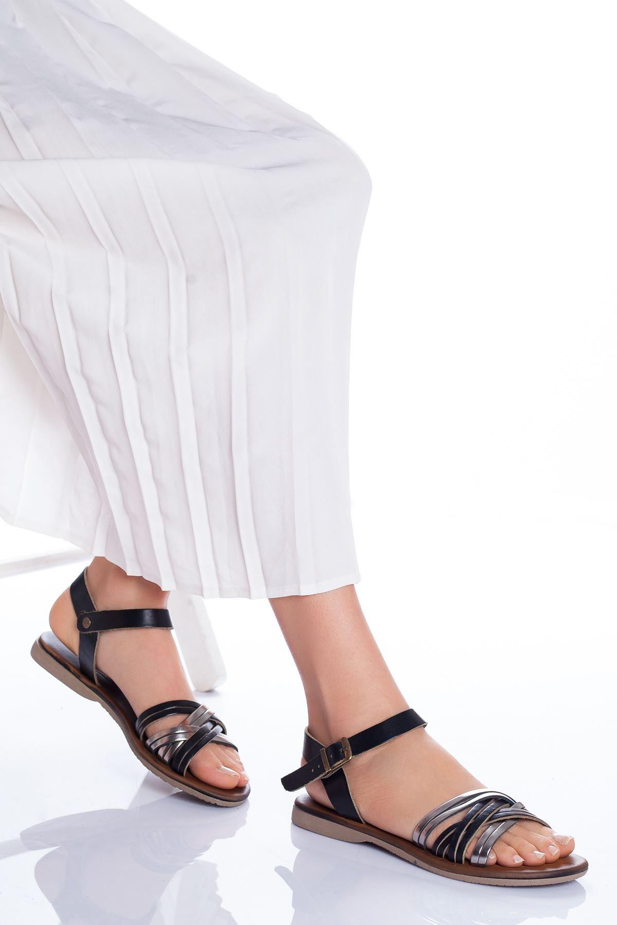 Dorel Hakiki Deri Sandalet SIYAH