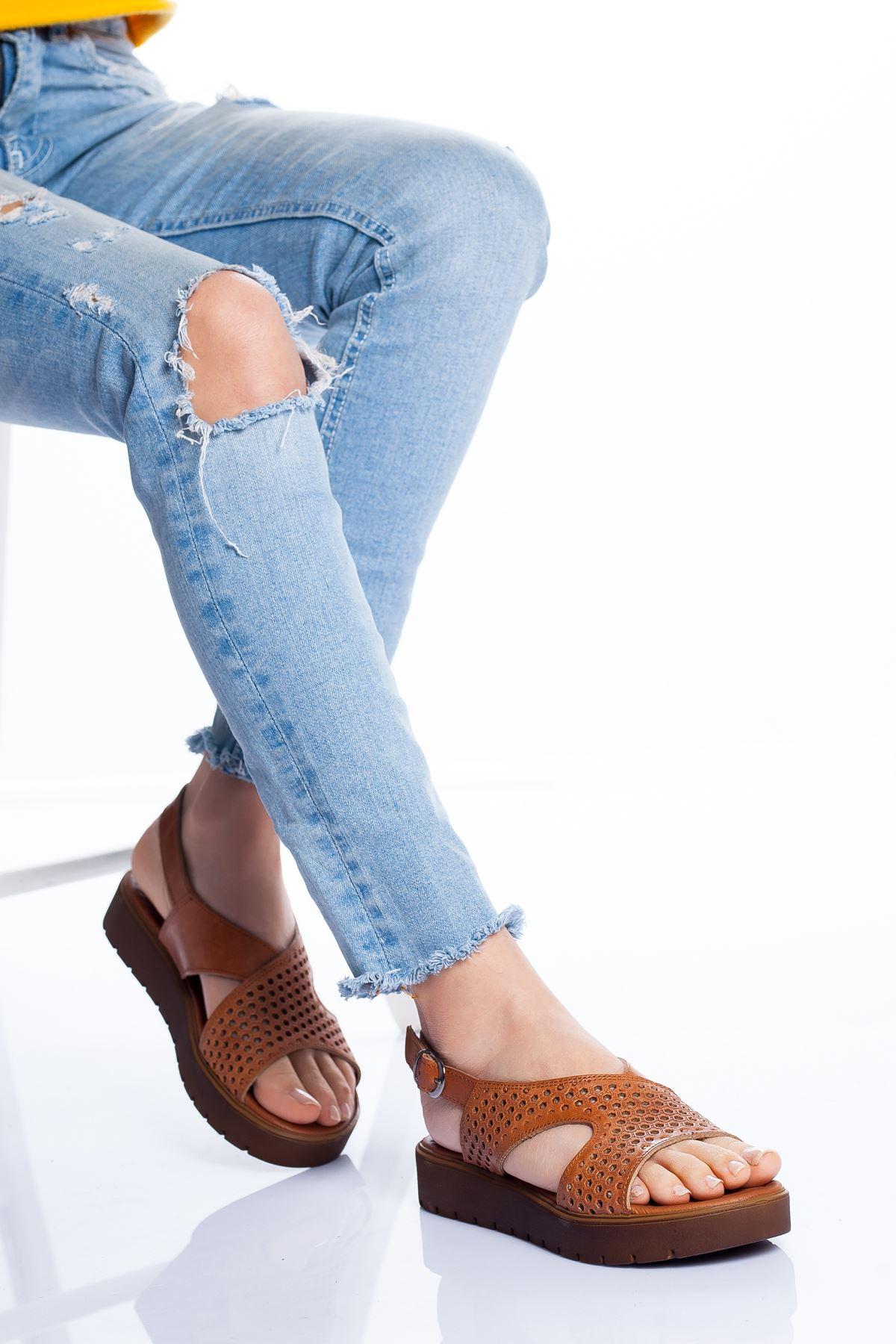 Haley Hakiki Deri Sandalet TABA