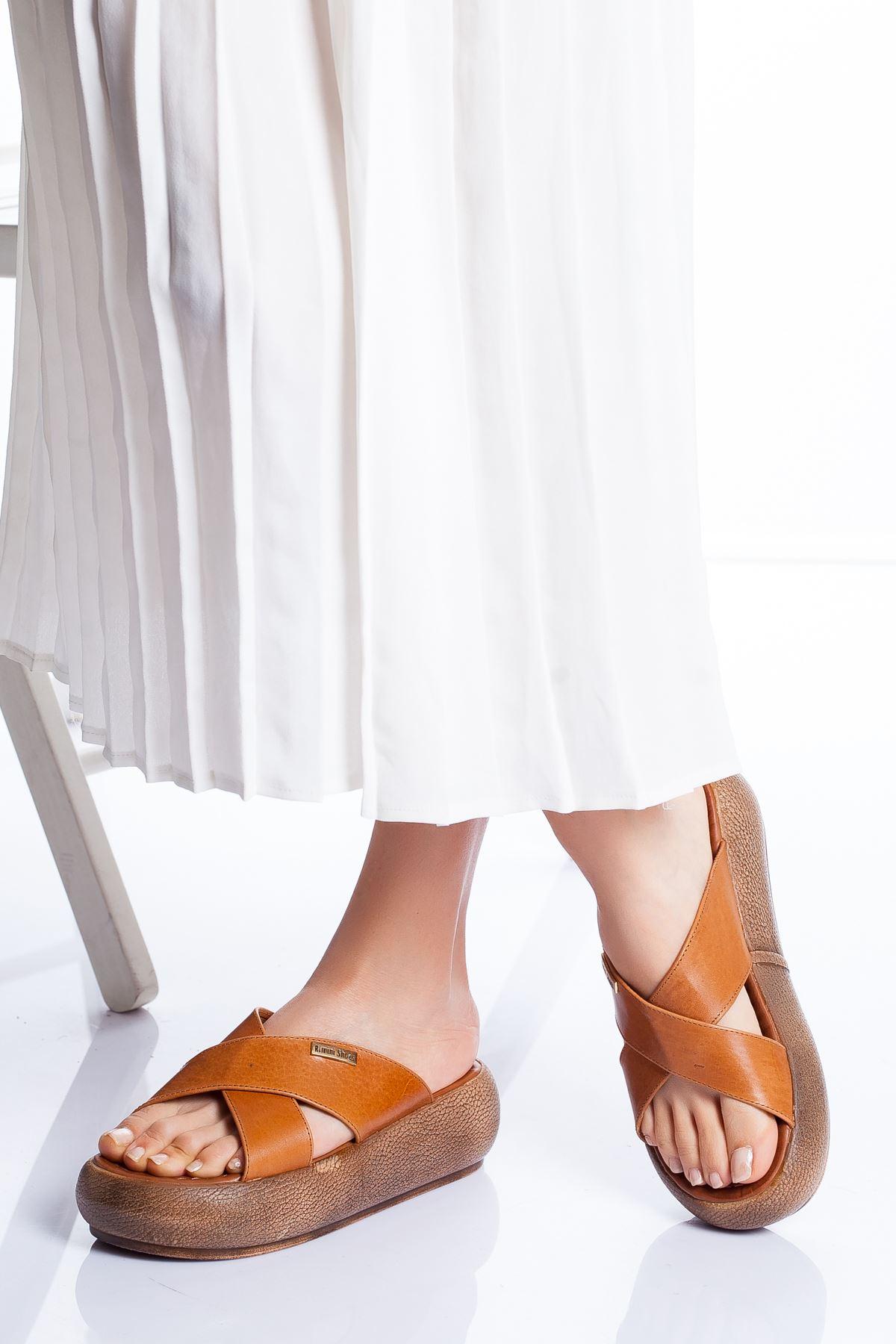 Carey Hakiki Deri Sandalet TABA