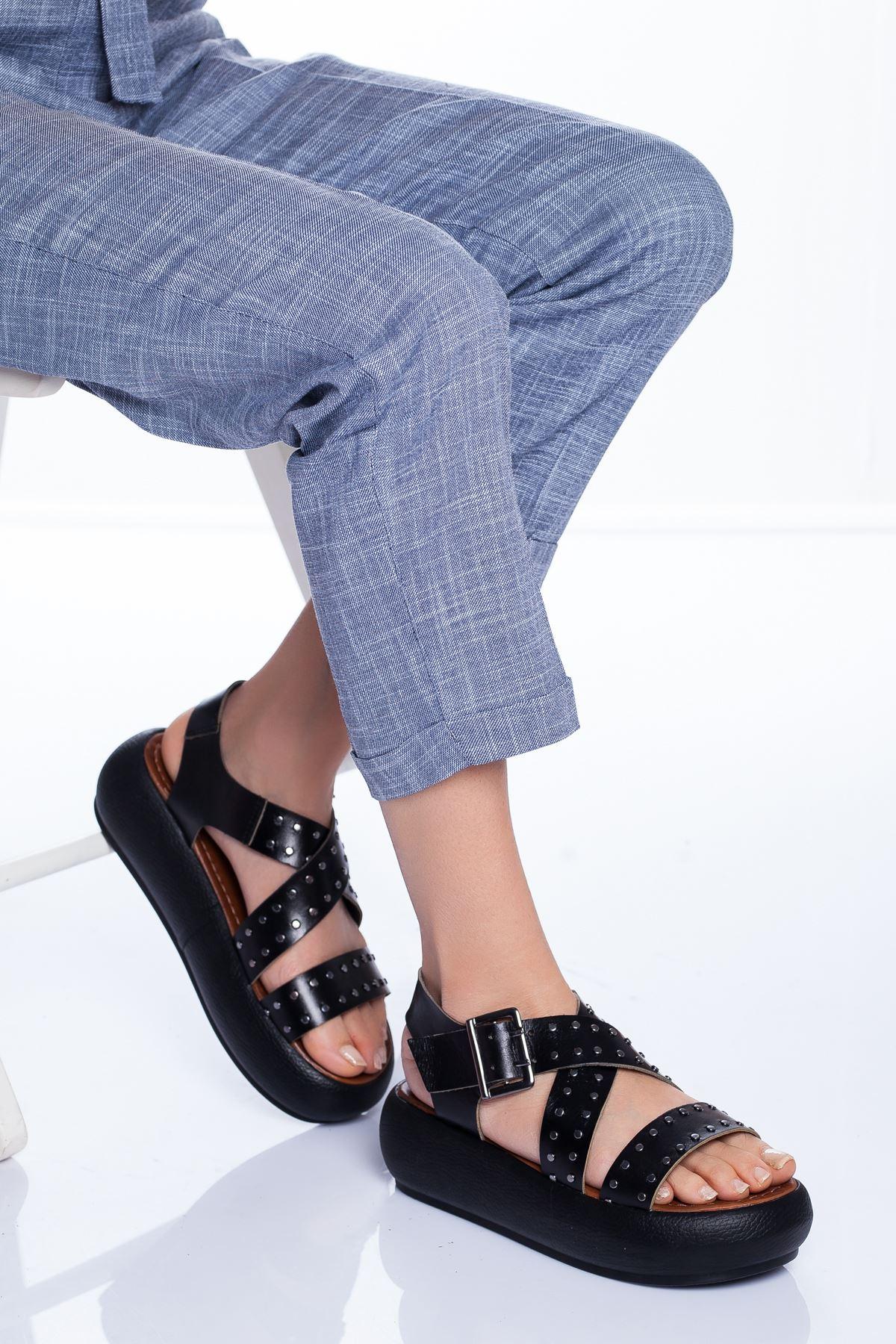 Dana Hakiki Deri Sandalet SIYAH
