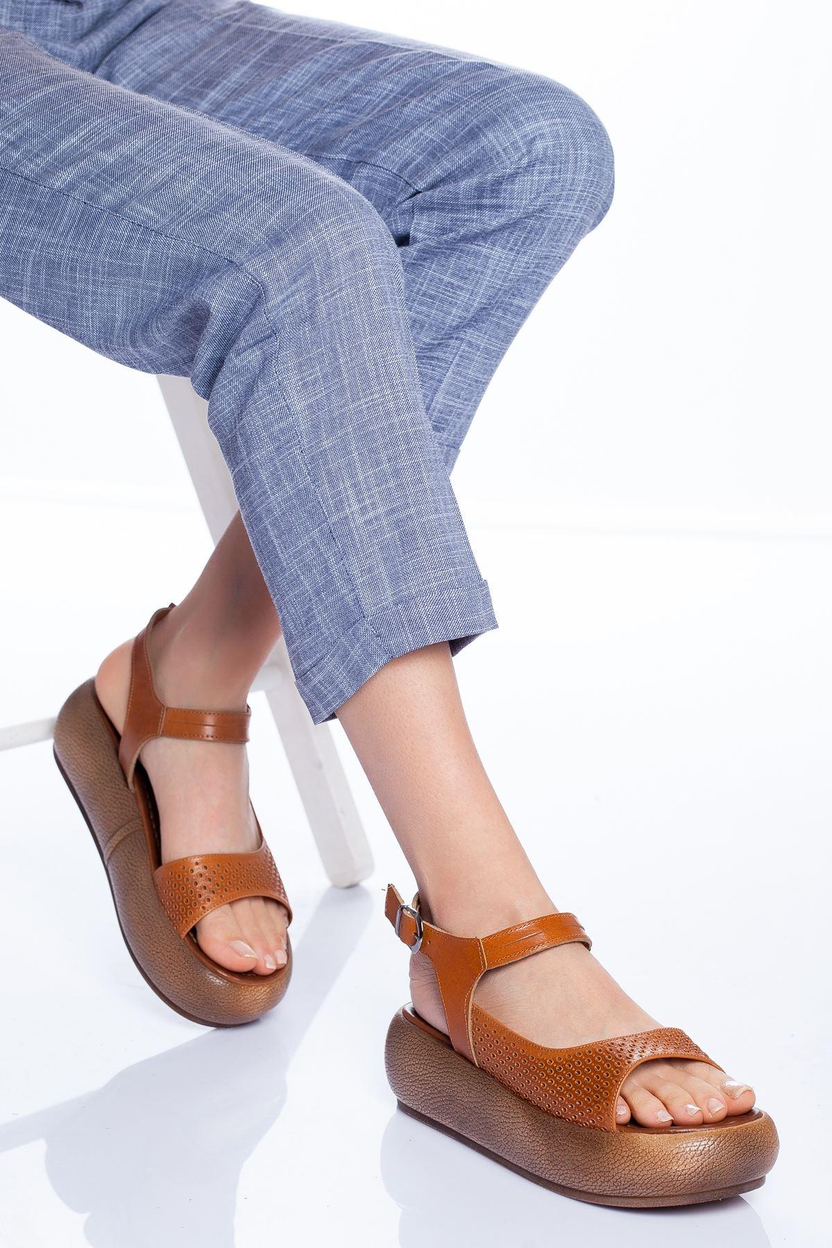 Mia Hakiki Deri Sandalet TABA