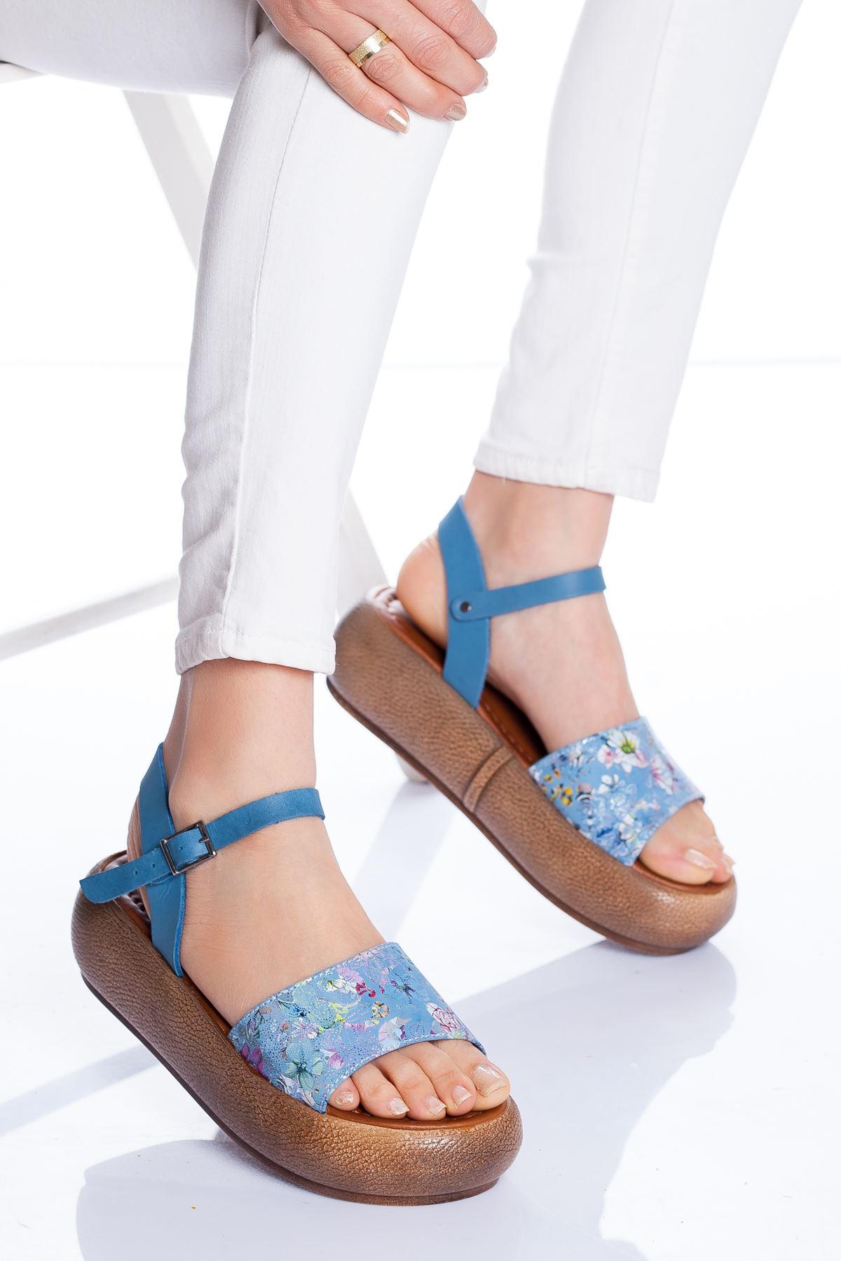 Lizy Deri Sandalet MAVİ