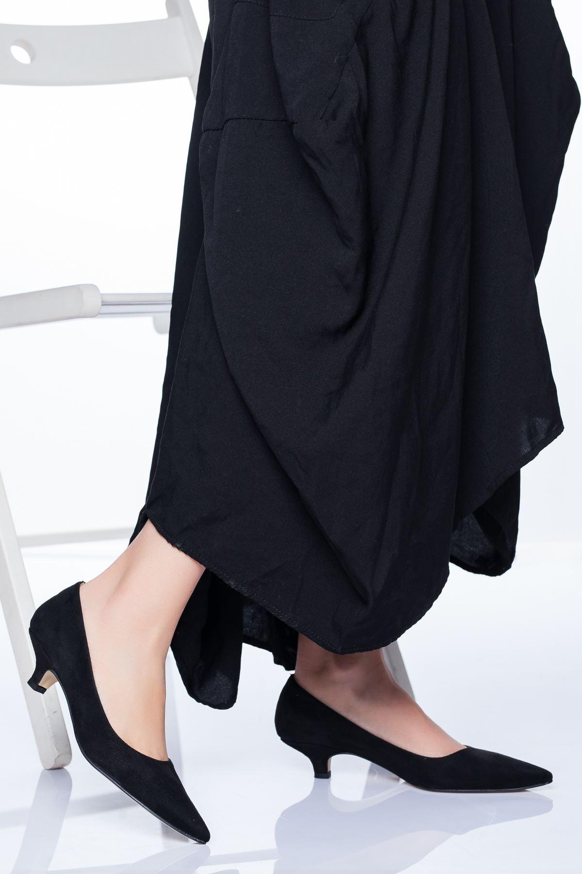 Odella Topuklu Ayakkabı SİYAH SÜET