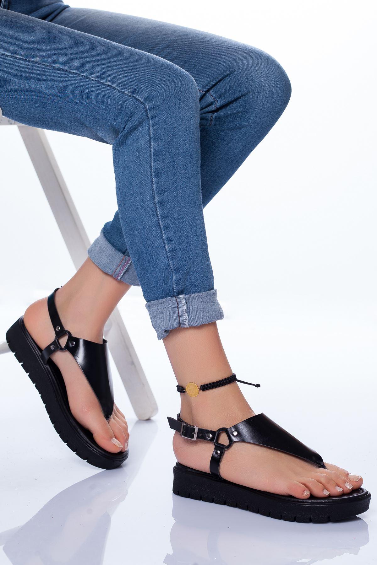 Alix Deri Sandalet SIYAH