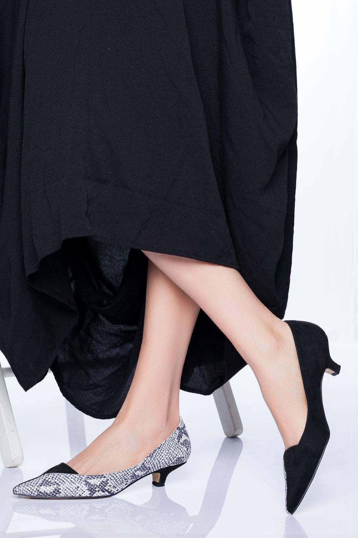 Odella Topuklu Ayakkabı SİYAH-YILAN