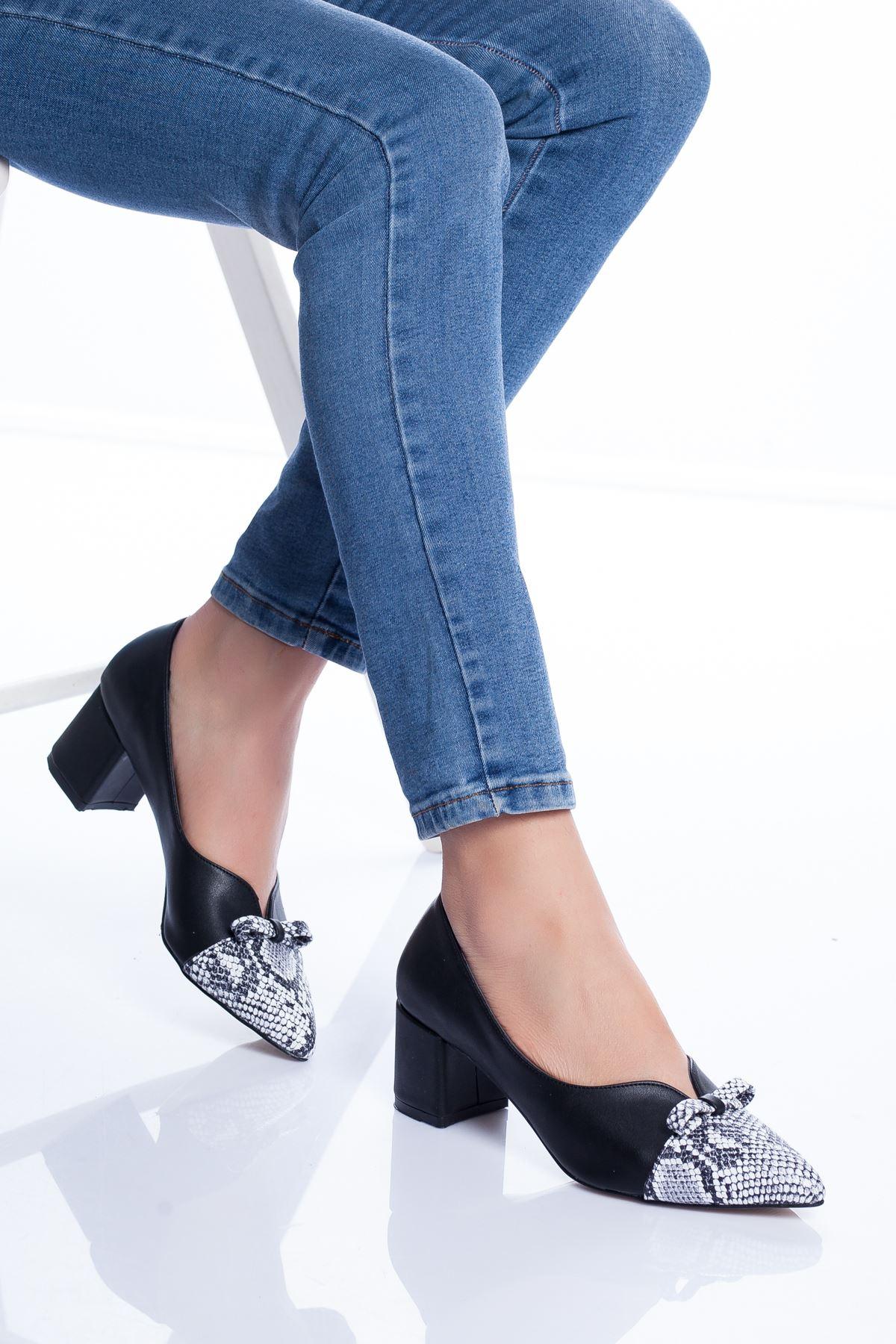 Marisa Topuklu Ayakkabı SİYAH-YILAN
