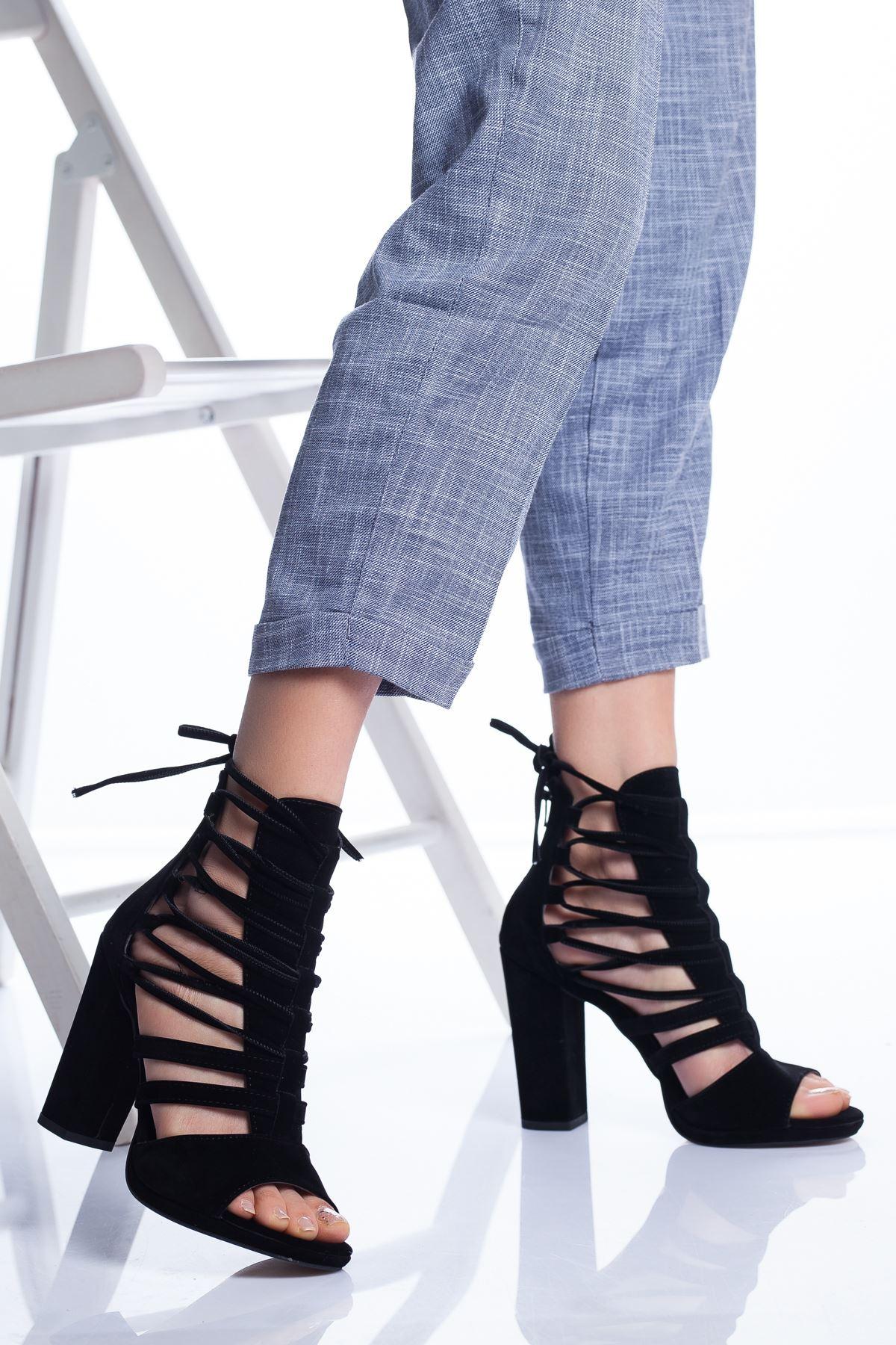 Petra Topuklu Ayakkabı SİYAH SÜET