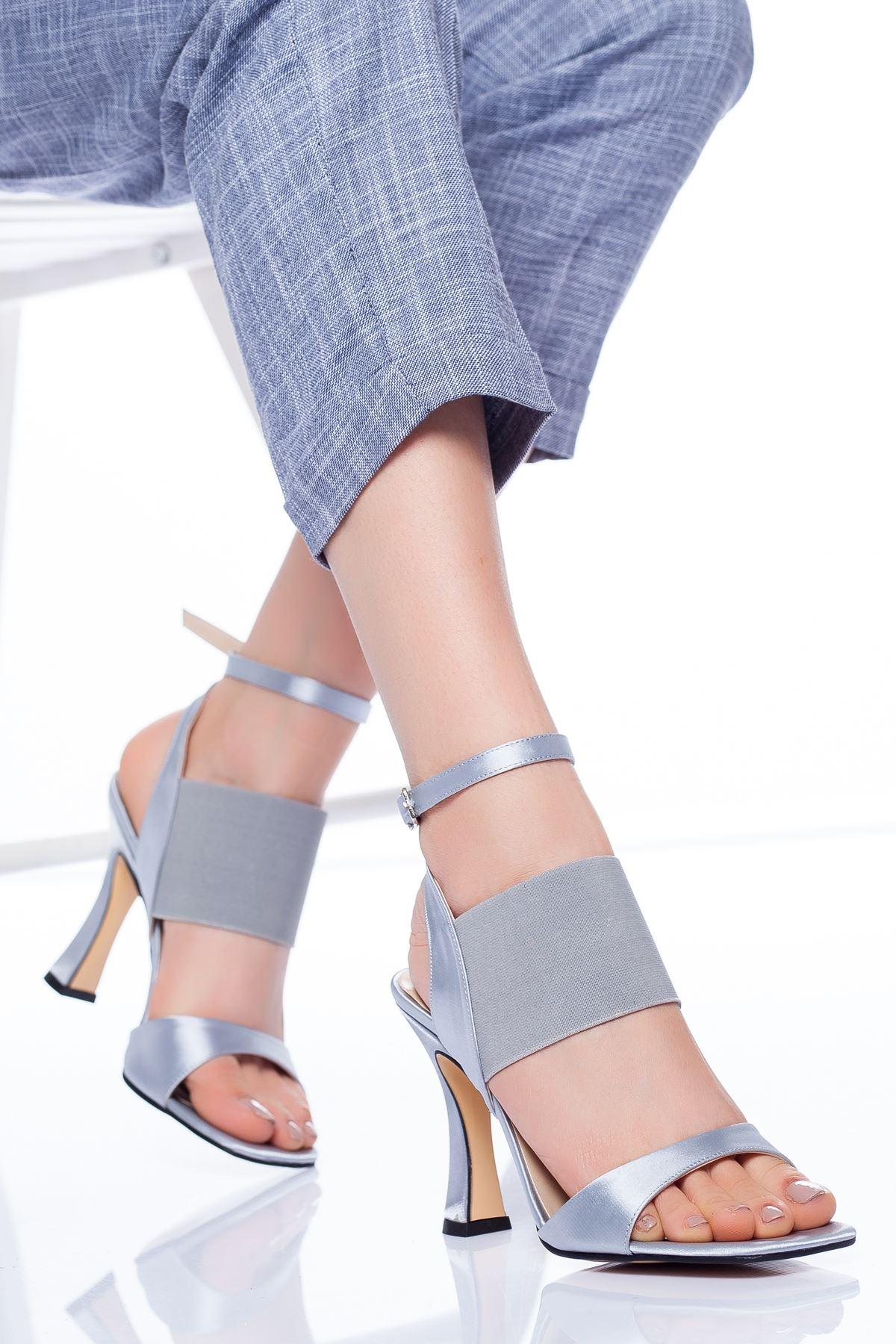 Marli Topuklu Ayakkabı GRİ
