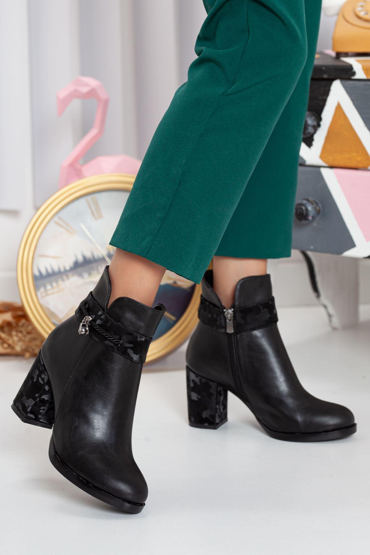 Bobi Kadın Topuklu Bot SİYAH CİLT